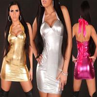 Wholesale sexy club dresses metallic - Gold Silver Rose Sexy Women Mini Dress Halter Clubwear Exotic Lace Up Dress Shiny Metallic Disco Costume