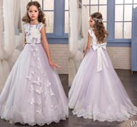 Wholesale Cute Dresses For Formal - Cute Lavender Flower Girls Dresses For Weddings Custom Made Full length A Line Little Girl Formal Wear Flower Girl Dresses