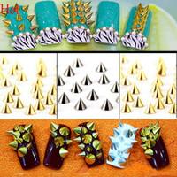 Wholesale Silver Glitter Nails - Gold Silver 3D Nails Rivet Tips Glitter Nail Art Decorations Alloy Nail Art Studs Decorations 13936