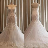 Wholesale Net Beach Skirt - Mermaid Wedding Dress Pearls Lace Applique Sweetheart Sleeveless Net Bridal Gown Plus Size Sweep Train Boho Bridal Gown Cheap Free Shipping