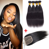 Brazilian Straight Human Hair Wefts 4 paquets avec la fermeture Cheap peruvian Malaysian Hair Weave Bundles UNPROCESSED Remy Human Hair Deals