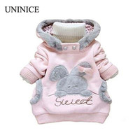 Wholesale rabbit coat for baby - Wholesale- Retail Children Clothing Cartoon Rabbit Fleece Outerwear girl fashion clothes  hooded jacket  Winter Coat for 2-7y baby 2 colors