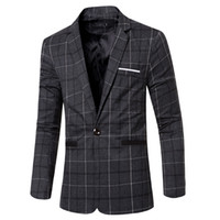 Atacado- New Autumn Winter Men's Blazers estilo europeu Moda Mens casamento Blazer Suit Vestido Plaid Suits Business Jacket Masculino