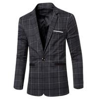 Wholesale European Men Business Suits - Wholesale- New Autumn Winter Men's Blazers European Style Fashion Mens wedding Blazer Suit Dress Plaid Suits Business Jacket Masculino