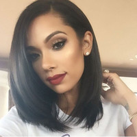 Wholesale short side wigs online - Side Part Bob Lace Front Wigs For Black Women Natural Virgin Peruvian Hair Bob Full Lace Wigs G EASY