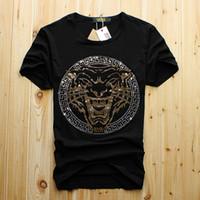 lustiges entwurfst-shirt großhandel-Männer Luxus Diamant Design T-Shirt Mode T-Shirts Männer lustige T-Shirts Marke Baumwolle Tops und T-Shirts kostenloser Versand
