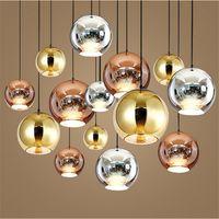 Wholesale Copper Pendant Ball Lamp - 3 Heads Modern Tom Dixon Copper Fashion Glass Ball Dixon Bubble Best Ceiling Lighting E27 110V 220V Pendant Lamps