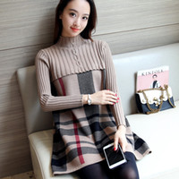 Wholesale Womens Warm Winter Sweaters - Wholesale- 2017 New Autumn Winter Patchwork Plaid Sweater Dress for Women O Neck Warm Knit Slim Womens Sweater Dresses Black Blue Red Khaki