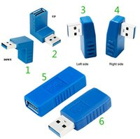 Wholesale Usb Vertical Adapter - Blue 90 Degree Vertical Left Right Up Down Angled USB 3.0 Male to A Female M F Adapter Connector Converter