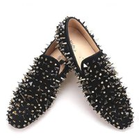 Wholesale Euro Style Wedding Dress - New men's suede leather shoes, black rivet fashion parties and party men's casual shoes, and the euro-style smoking slippers