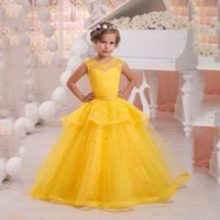 amarillo hinchada vestido de bola vestidos al por mayor-2017 Hot Yellow Pink Scoop Ball Gown Puffy Princess Dress Vestidos de niña de las flores Niñas desfile Vestidos Niñas Birthday Formal Party Dress