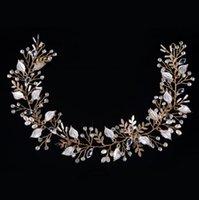 Wholesale Trendy Chain Headbands - Fashion Handmade Bride Hair Jewelry Gold Wedding Hair Accessories Beads Rhinestone Leaves Headband Head Chain 1 piece