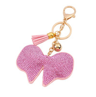 Wholesale Cute Butterfly Keychain - hot sale bag accessories charms key rings Fashion Candy color cute glittering rhinestone diamond crystal butterfly tassel leather keychain