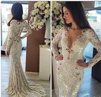 vestidos largos de boda indios al por mayor-2017 Elegante Sirena Barato Jardín de Encaje Sheer Back Vestidos de Novia Vestidos Indios de Manga Larga Asequible Marfil Vestidos de Novia