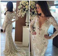 hint düğün uzun giysileri toptan satış-2017 Zarif Mermaid Ucuz Dantel Bahçe Sheer Geri Gelinlik Uzun Kollu Hint Abiye Ekonomik Fildişi Gelin Elbiseler