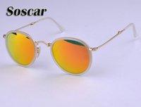 Wholesale Leather Folding Mirror - Soscar Round Folding Sunglasses 3517 Fashion Women Portable Glass Flash Mirror Lenses Brand Design Summer Sunglass with Folding Leather Box