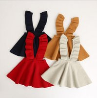 Wholesale new girls knitted skirt ruffle solid colors autumn winter good quality woolen girls suspender skirt