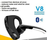 Wholesale Headphone Tracks - Bluetooth Headphones Legend V8 Business Stereo Headset V4.0 Double Track Handsfree Earphone HIFI Mic Call Remind Music with retail package