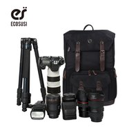 "Wholesale Backpack Camera Bags For Men - Wholesale- 2016 Men's Backpack For Camera Photo Canvas&Leather Camera Bag Digital SLR Laptop 17"" Backpack For Photojournalists Enthusiasts"