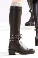 Wholesale Patent Leather Riding Boots - Sexy Cut out Western Long Boots Womens Winter Autumn Seasons Boots Chunky heels British Style Fashion Leather Zip Riding Boots