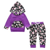 Wholesale Style Kids Outfits - Baby Girls Floral Print Sets 2017 Spring Infant Girls Hooded Shirts + Trousers 2pcs Suits Newborn Kids Full Sleeve Outfits Children Clothing