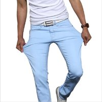 Wholesale Tight Colors Jeans - Wholesale- Odinokov Brand 2017 New Fashion Men's Casual Skinny Jeans Trousers Tight Pants Solid Colors