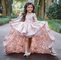 Wholesale flower child prom dresses - Pink High Low Long Sleeve Flower Girl Dresses For Wedding Lace Applique Ruffles Girls Pageant Gowns Sweep Train Children Prom Party Dresses