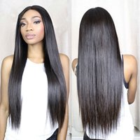 Wholesale Medium Length Straight Hair Wigs - Lace Wigs Silky Straight Natural Color Indian Hair Long Length Hair Full Lace Wigs Large Small Medium Size Cap Stocked