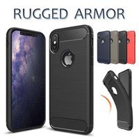 Wholesale galaxy skin back cover cases - Carbon Fiber Case For IPhone X 7 8 Plus Galaxy S9 Note9 Luxury Brushed Silicone Soft Rubber Back Cover Slim Armor Rugged Skin