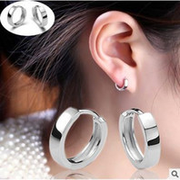 Wholesale South Korean Style Men - 2017 Luxury Imitation Rhodium Plated earrings Hoop Huggie jewelry Korean Style Smooth men and women ear buckle