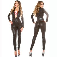 Wholesale Tiger Jumpsuit Woman - Animal Cosplay Costume Tiger Pattern Bodysuit Women Zipper Catsuit Faux Leather Skinny Romper Themed Party Jumpsuit