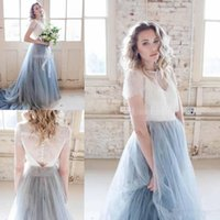 Wholesale Bridal Chic Gowns - 2018 Autumn Chic Country Wedding Dresses Dusty Tulle Court Train Ivory Lace Skirt Short Sleeve Cheap Sheer Bohemia Wedding Bridal Gowns