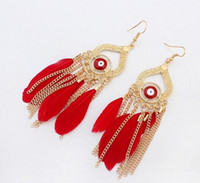 Wholesale Tassel Earring Cuff Feather - Europe and the United States fashion joker clairvoyant earrings Feather tassels accessories stud earrings free shipping