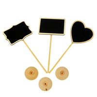 wholesale wooden 3 shapes blackboards message number tag wedding table decor party supply