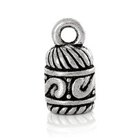 Wholesale End Caps For 5mm Cord - DoreenBeads Necklace Cord End Cap Beads Tips For Leather Cord Jewelry(Fit 5mm Cord)Antique Silver Carved 14x 7mm,100 PCs