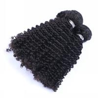 doğal siyah kinky saç uzantıları toptan satış-Perulu Malezya Hint Kamboçyalı Brezilyalı Kinky Kıvırcık İnsan Saç Örgüleri Doğal Siyah Bakire Sapıkça Kıvırcık Saç Uzantıları