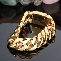 Wholesale gold snail for sale - Group buy 17MM Wide Men Fashion Brand Gold Titanium steel bangle Jewelry Gold Filled Snail Link Chain Mens L Stainless Steel Bracelets