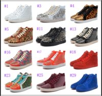 High Top Handmade Nieten Red Bottom Schuhe für Männer Luxus Mode Casual Schuhe Herren Hochzeit Party Flats Spikes Kleid Freizeit Schuh Männlich
