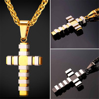 Wholesale Two Tone Cross Pendants - U7 New Fashion Style Cross Necklace Pendant Trendy Two Tone Stainless Steel Gold Plated Christian Jewelry for Women Men Perfect Gift GP2438