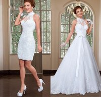 boncuklu yüksek yaka dantel elbisesi toptan satış-2018 Muhteşem Aplike Tül Yüksek Yaka Boyun Çizgisi Gelinlik Boncuklu Dantel 2 1 A-Line Gelin Elbise Vestido De Noiva BA7517