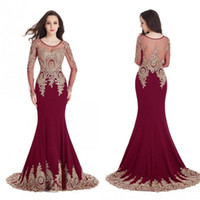 Wholesale Purple Satin Robes - Real Image Cheap In Stock Burgundy Mermaid Evening Dresses Long Sleeves Sheer Scoop Prom Dresses Gold Lace Appliques Robe de Soiree CPS404