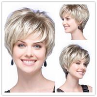 pelucas de pelo negro muy corto al por mayor-Xiu Zhi Mei New Fashion peluca de pelo corto, muy fresco ombre corto blanco y negro rubio sintético barato bob pelucas onduladas para las mujeres blancas