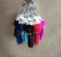 Wholesale Doll Phone Charms - Cute Duck Fuzzy Wuzzy Charm Soft Plush mink Fur Lovely Duck Keychain Key Ring For Phone Bag Pendant Cartoon Doll