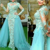 Wholesale Dress For Party Over - Arabic Turquoise Evening Dresses Long 2017 Middle East Lace Sleeves Over Skirt Prom Gowns for Women Formal Party Dresses