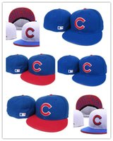 Men sports hats cheap - Newest Cheap fashion style Flat Visor Chicago Cubs Baseball Fitted Hats Sport Full Closed Caps Bones Red C logo Blue Color