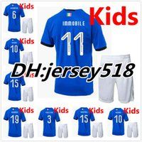 Wholesale National Children - 2018 Italy kids kits soccer Jersey 17-18 WC national team CANDREVA CHIELLINI EL SHAARAWY BONUCCI INSIGNE IMMOBILE Children FOOTBALL SHIRTS