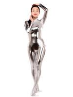zentai parlak seksi toptan satış-Gümüş Parlak Metalik Zentai Catsuit Sıcak Satmak Seksi Sıkı Ikinci Cilt Takım Cadılar Bayramı Partisi Cosplay Zentai Kostüm