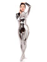 olivgrüner catsuit großhandel-Silber Shiny Metallic Zentai Catsuit Heißer Verkauf Sexy Enge Zweite Haut Anzug Halloween Party Cosplay Zentai Kostüm