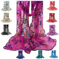 Wholesale Gauze Veil - Wholesale- Women's Luxury Lace Edged Scarf Vintage Colorful Flower Gauze Veil Shawl Scarf Wraps Shawl Long Large Soft Scarf Bufandas Mujer