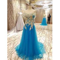 Wholesale Seductive Prom Dresses - Sexy Robe de soiree Beading Seductive Blue Tulle Unique Design Long Evening Dresses 2017 Woman Formal Prom Dress Party Gown